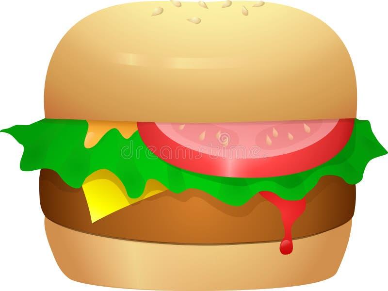 乳酪汉堡用莴苣和蕃茄 免版税库存照片