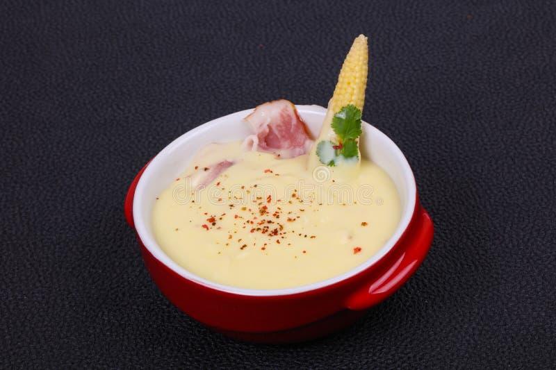 乳酪汤用烟肉 图库摄影