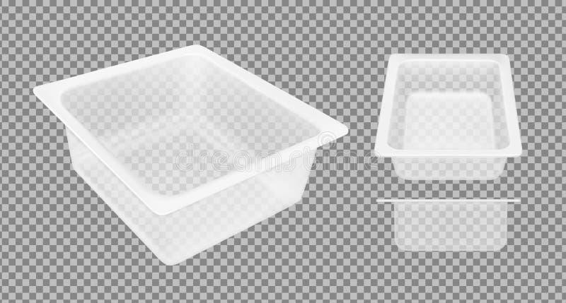 乳酪的透明空的塑胶容器 包装为肉、鱼和菜 向量例证