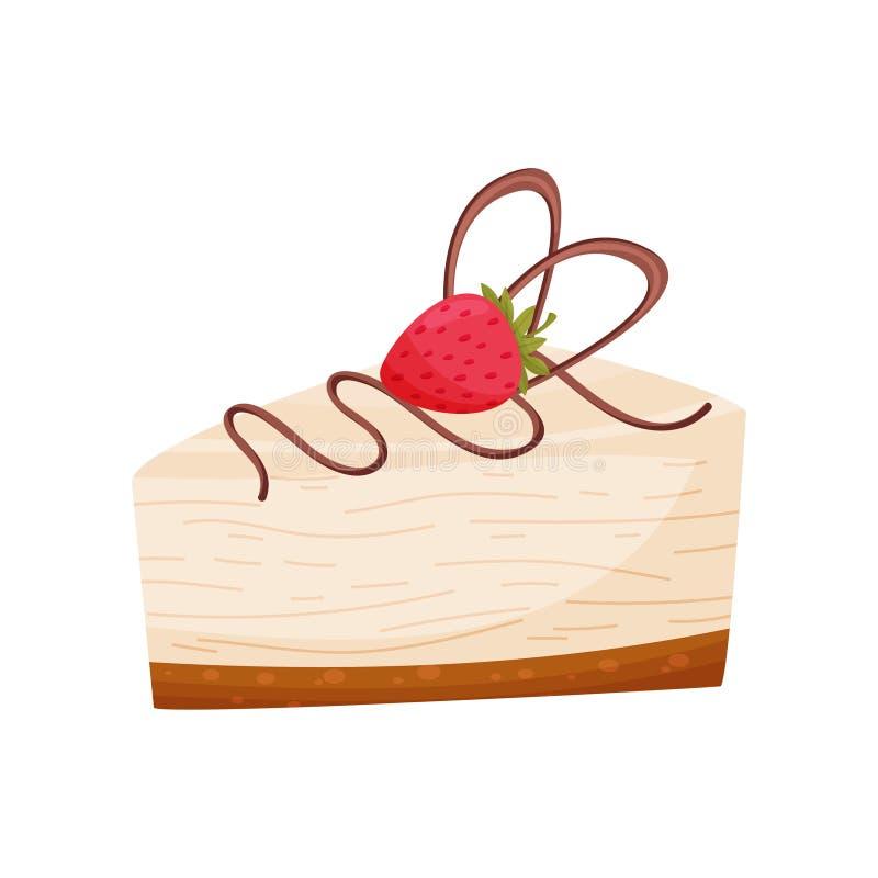 乳酪蛋糕用在白色背景的莓 面包店概念 皇族释放例证