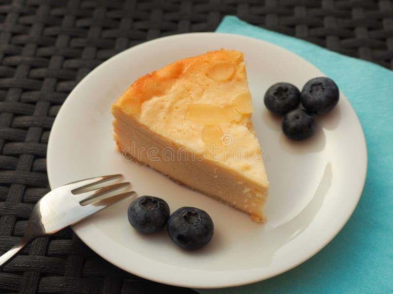 乳酪蛋糕用蓝莓 免版税图库摄影