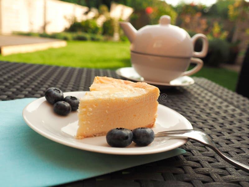 乳酪蛋糕用蓝莓 库存图片