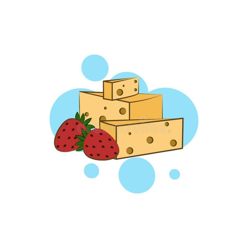 乳酪,荷兰扁圆形干酪象 颜色乳酪象的元素 向量例证