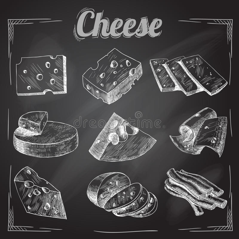 乳酪黑板汇集 向量例证