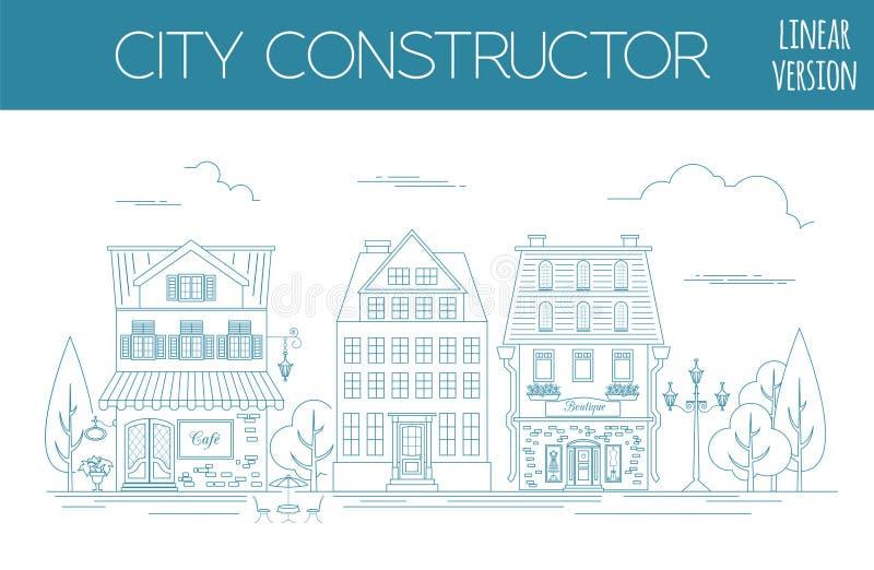 了不起的城市地图创作者 概述版本 议院建设者 Hous 向量例证