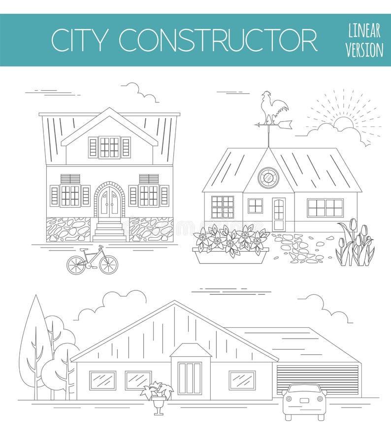 了不起的城市地图创作者 概述版本 议院建设者 Hous 库存例证
