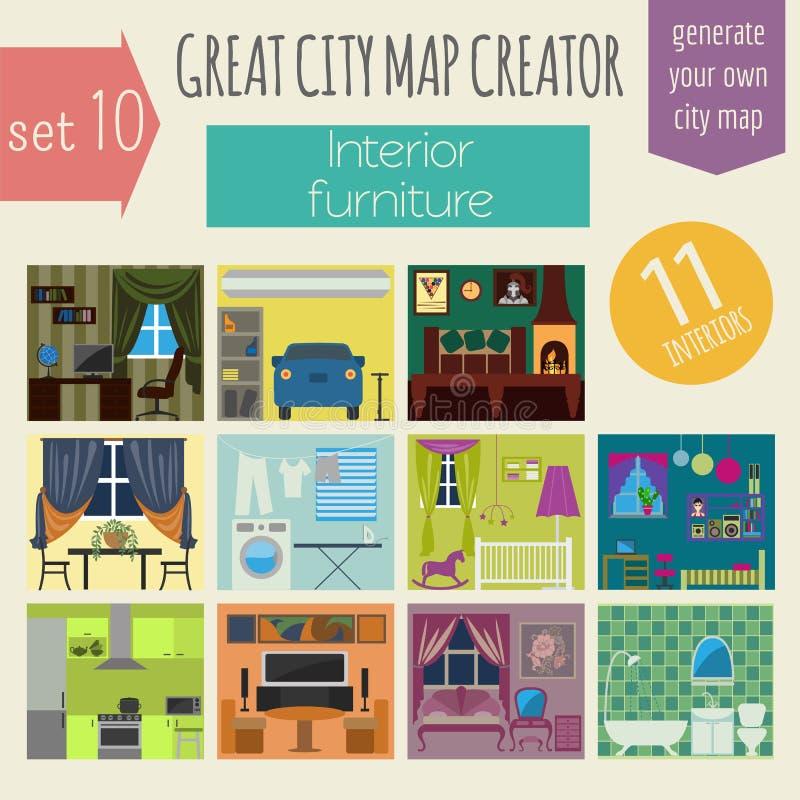 了不起的城市地图创作者 议院建设者 内部,家具 库存例证