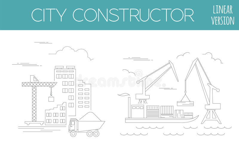 了不起的城市地图创作者 议院建设者 基础设施,印度斯 皇族释放例证