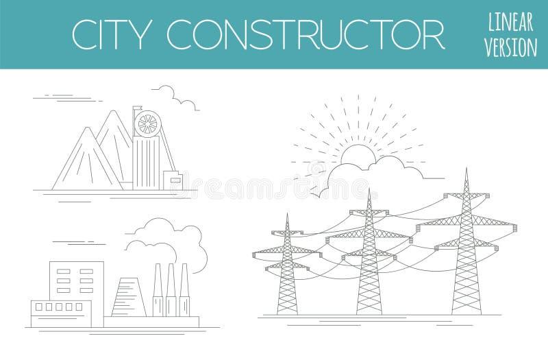 了不起的城市地图创作者 议院建设者 基础设施,印度斯 库存例证