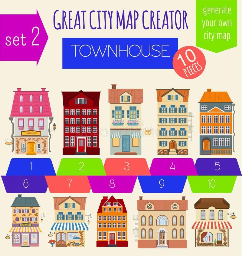 了不起的城市地图创作者 议院建设者 议院,咖啡馆, restaura 皇族释放例证