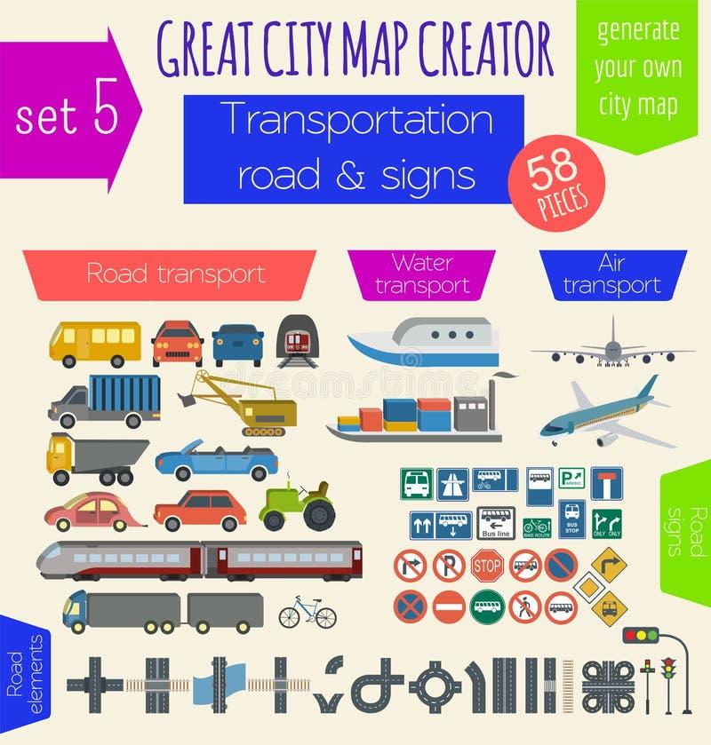 了不起的城市地图创作者 议院建设者 议院,咖啡馆, restaura 向量例证