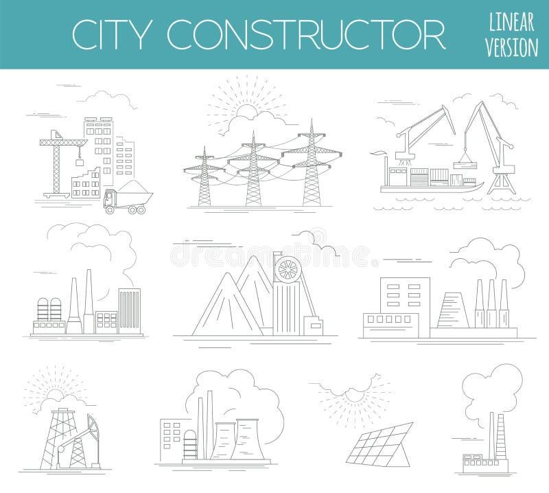 了不起的城市地图创作者 议院建设者 库存例证