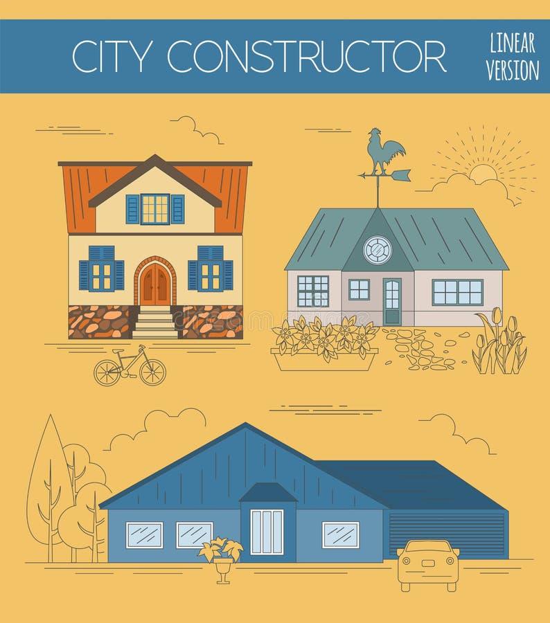了不起的城市地图创作者 颜色版本 议院建设者 议院 向量例证
