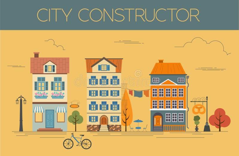 了不起的城市地图创作者 颜色版本 议院建设者 向量例证