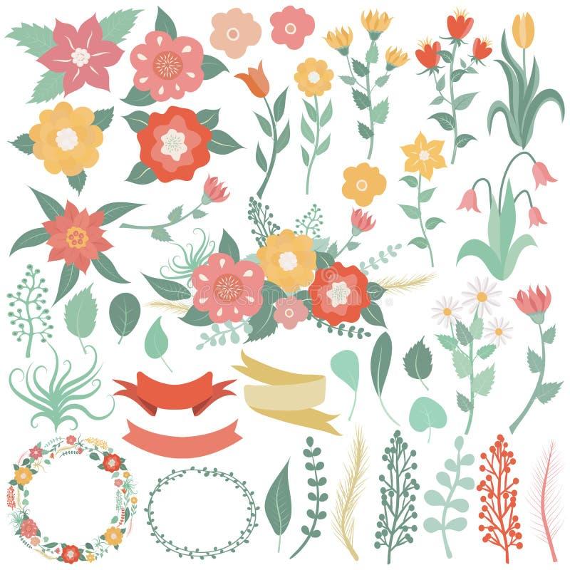 了不起的套花,叶子,分支,花圈,标签,心脏 向量例证