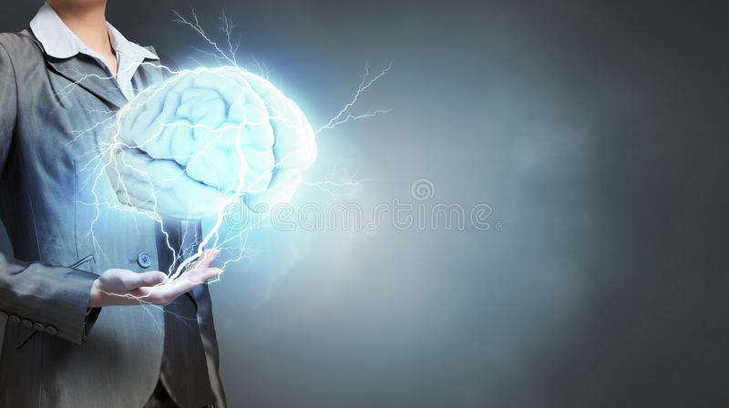 了不起的头脑的人 混合画法 库存照片