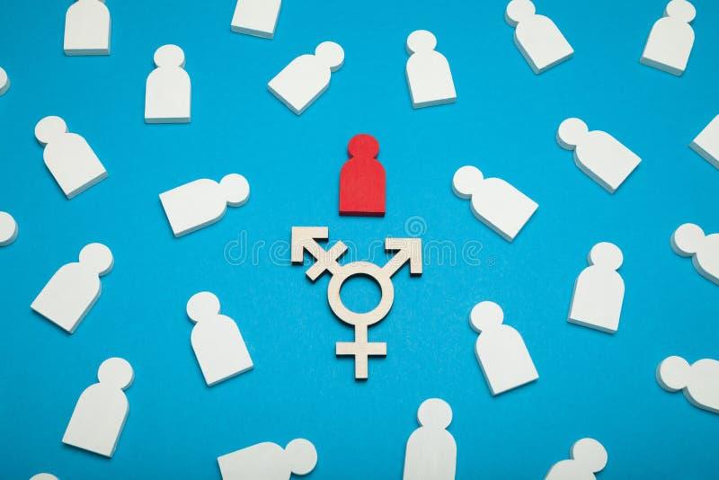 了悟变性标志,两性的社区概念 库存图片