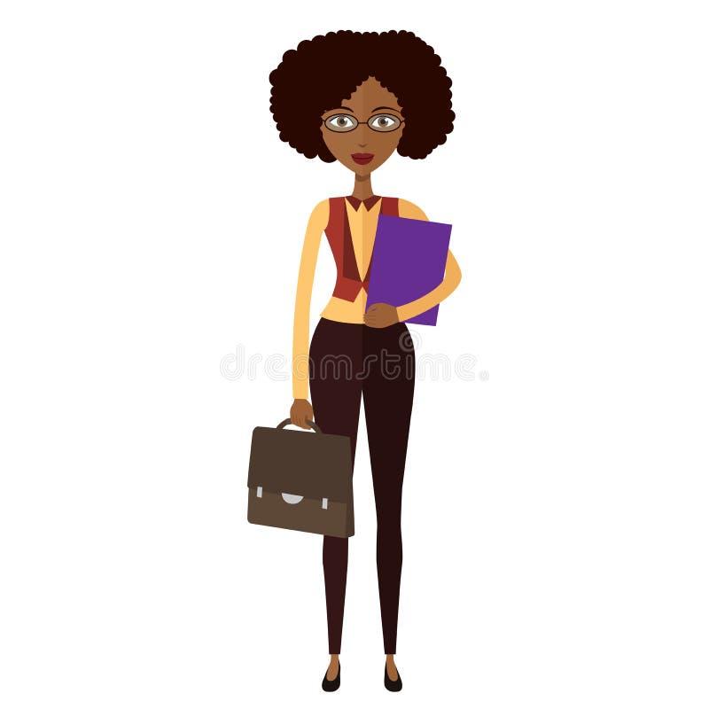 戴了眼镜非裔美国人的女商人 银行家 bess 皇族释放例证