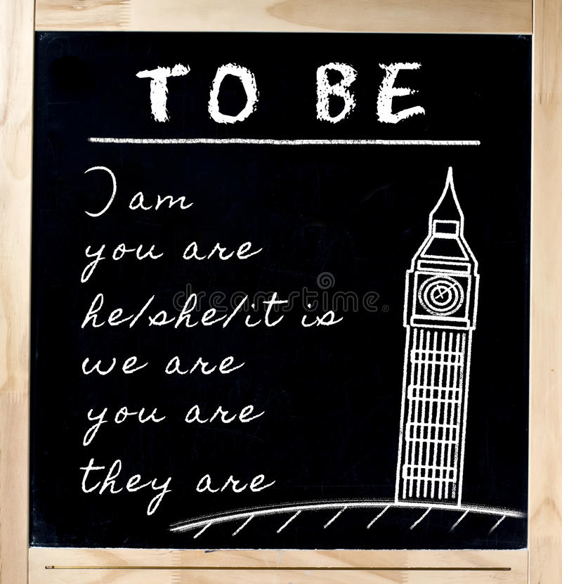 了解在黑板的英语 免版税库存照片