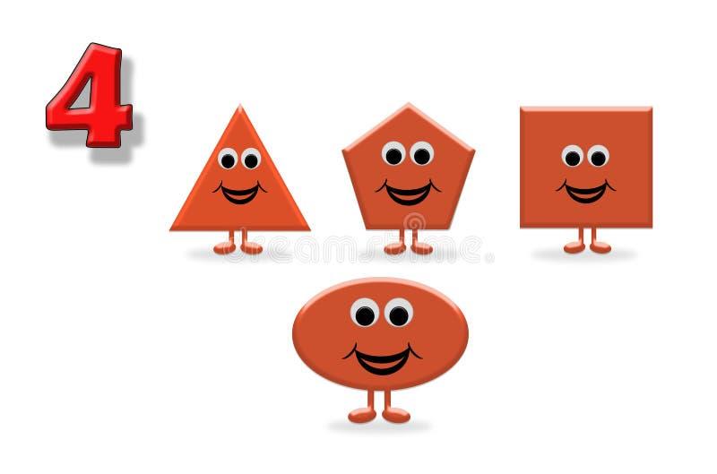 了解的计数 形状的例证与一张愉快的动画片面孔的,伟大为学会基本的几何和算术的孩子 库存例证