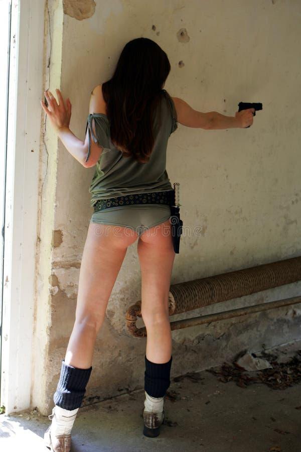 争取枪妇女 库存照片
