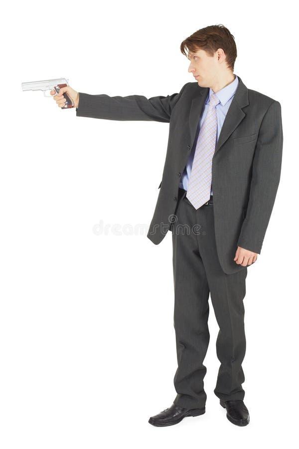 争取生意人枪 免版税库存图片