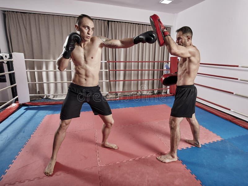 争吵在圆环的Kickboxers 免版税库存照片