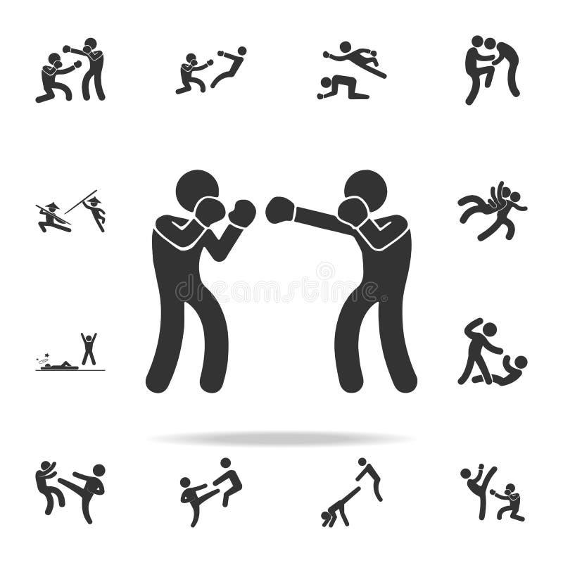 争吵的拳击手象 套Cfight和争吵的元素象 优质质量图形设计 标志和标志汇集象 向量例证