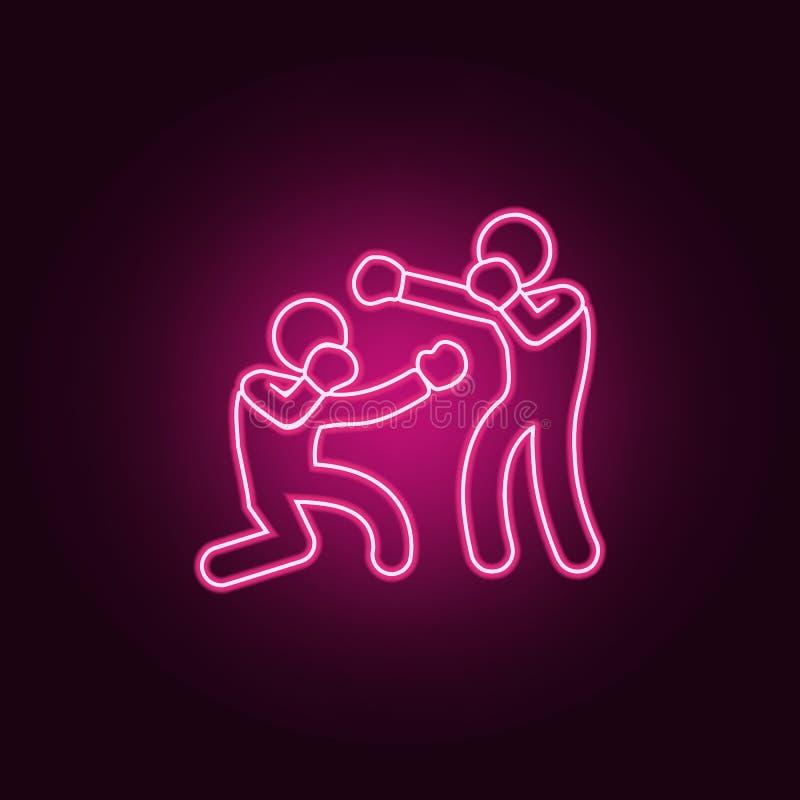争吵的拳击手象 战斗的元素在霓虹样式象的 网站的简单的象,网络设计,流动应用程序,信息图表 库存例证
