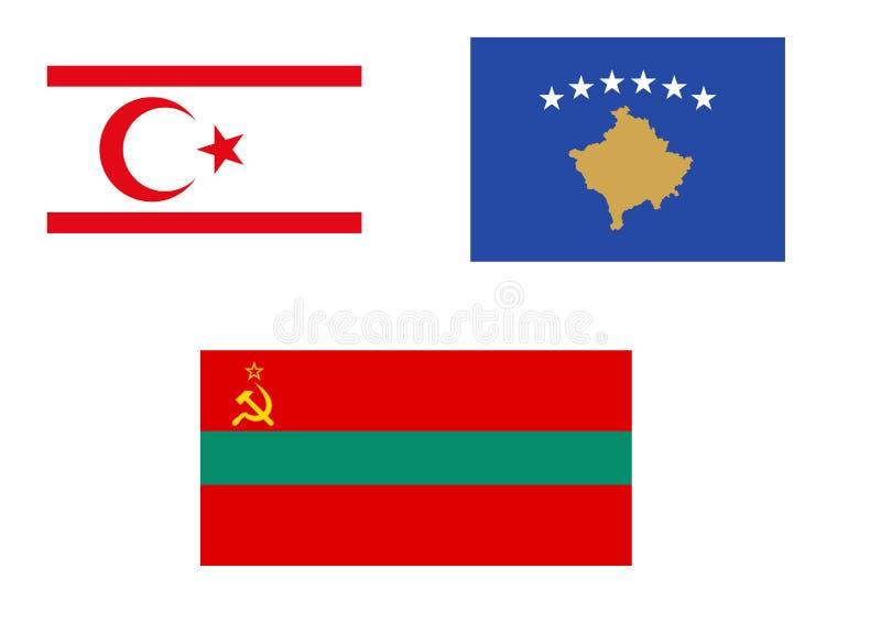 争执的和未被认出的欧洲状态旗子  向量例证