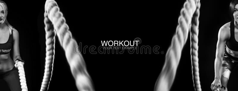 争斗系住会议 有吸引力的年轻人适合了并且定了调子解决在功能训练健身房的女运动员做锻炼 图库摄影