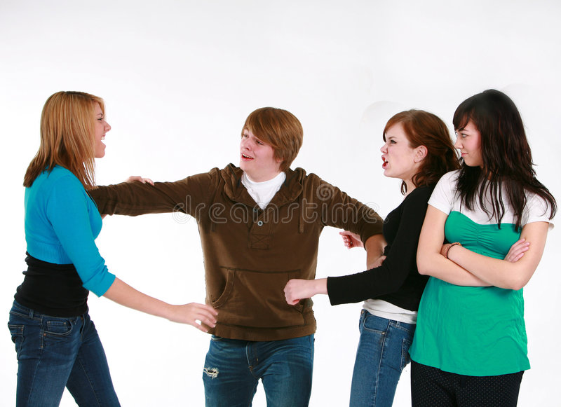 争论男孩女孩关于青少年 免版税库存图片