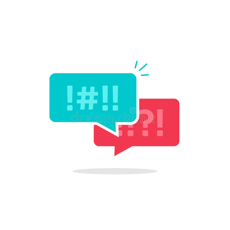 争论闲谈泡影象传染媒介,论据消息,粗鲁的对话,争论聊天的夫妇,冲突讲话,讨论 库存例证