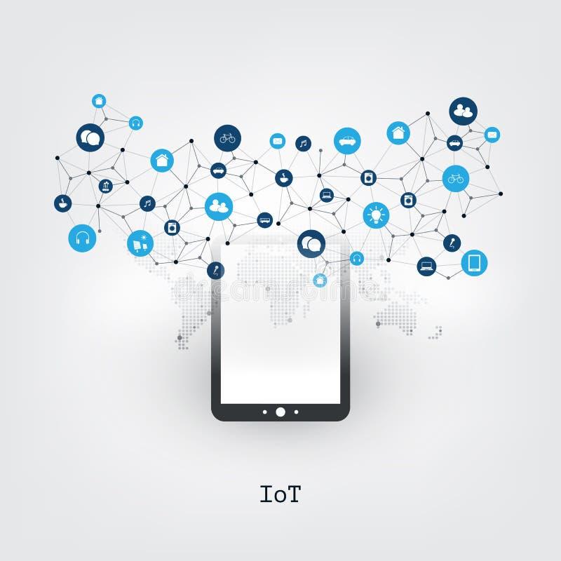 事与平板电脑和象-数字网连接,技术背景的设计观念互联网  库存例证
