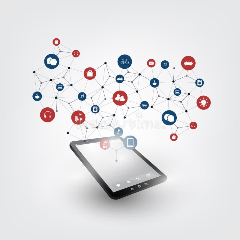 事与象-数字网连接,技术背景的设计观念五颜六色的互联网  库存例证