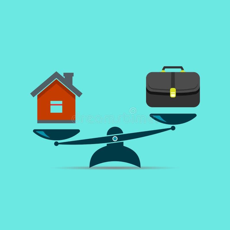 事业和家庭在等级 您平衡的生活 库存例证