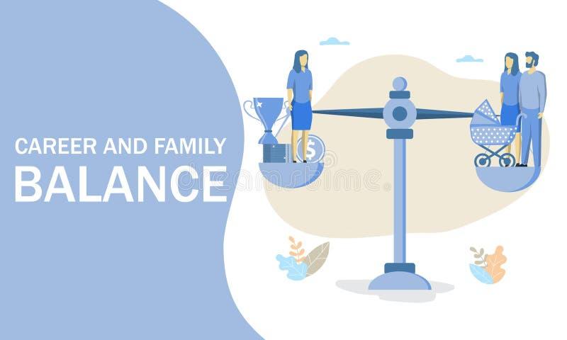 事业和家庭平衡,传染媒介平的例证 库存例证