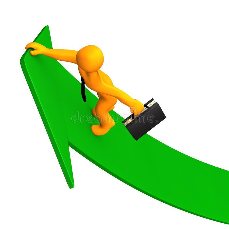 事业成功绿色箭头3 库存例证