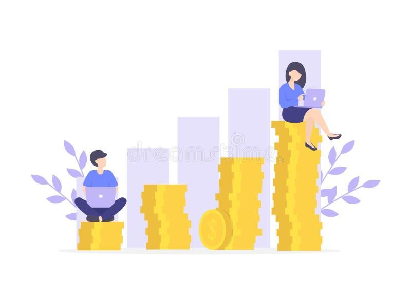 事业成长金钱,企业成功 库存例证
