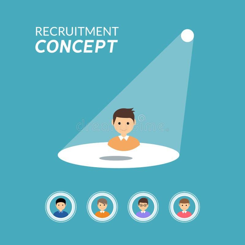 事业补充或聘用的传染媒介概念 看工作,聘用的就业的聚光灯 库存例证