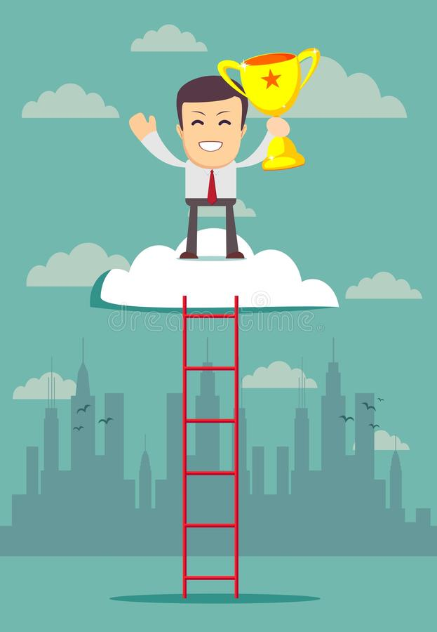 事业 人们爬上台阶,在上面是战利品 向量例证