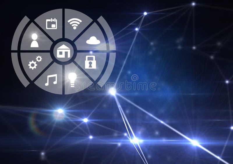 事互联网象接口在蓝色轻的连接器背景的 库存例证