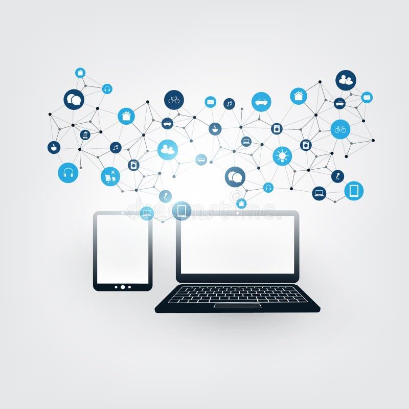 事互联网,与象-数字网连接,技术背景的云彩计算的设计观念 皇族释放例证