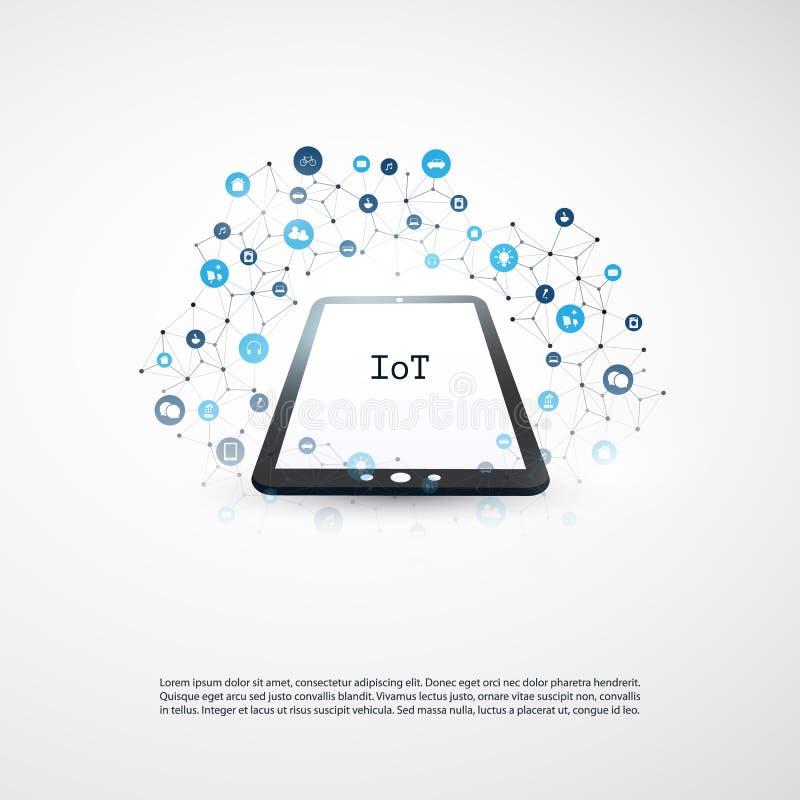 事互联网,与象-数字网连接,技术背景的云彩计算的设计观念 向量例证