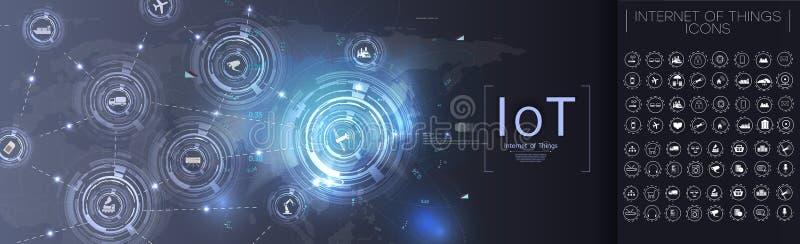 事互联网  未来派Iot技术概念 连接概念 传染媒介IoT象 皇族释放例证