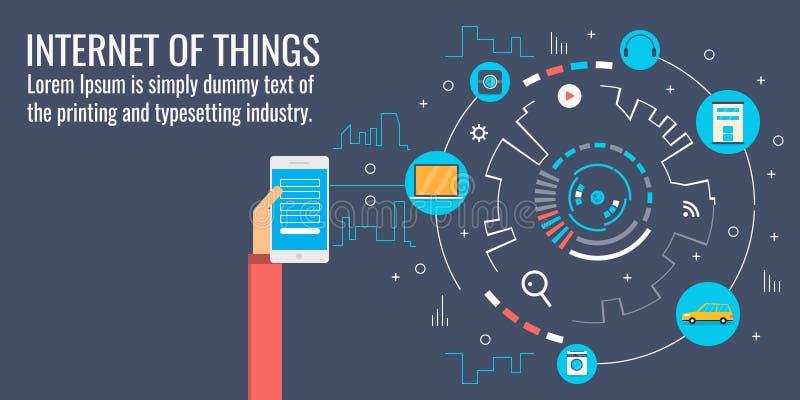 事互联网-聪明的通信-覆盖计算系统,巧妙的设备,自动化概念 平的设计传染媒介横幅 库存例证