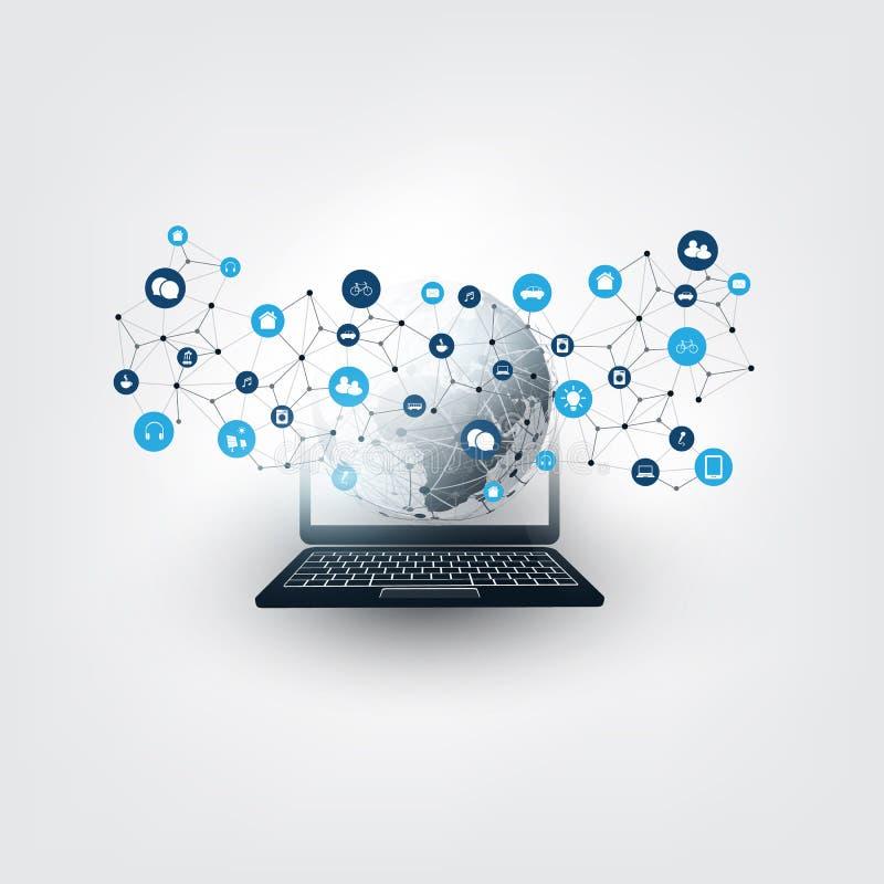 事五颜六色的互联网,与象-数字网连接,技术背景的云彩计算的设计观念 皇族释放例证