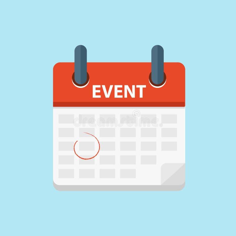 事件日历 日历的概念,事件,个人组织者 平的传染媒介 皇族释放例证