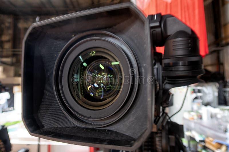 事件的电视播送从电视演播室的 库存图片