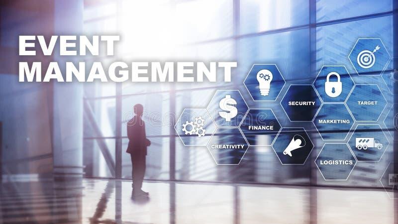 事件管理概念 事件管理流程图 事件管理有关事项 混合画法事务 免版税库存图片
